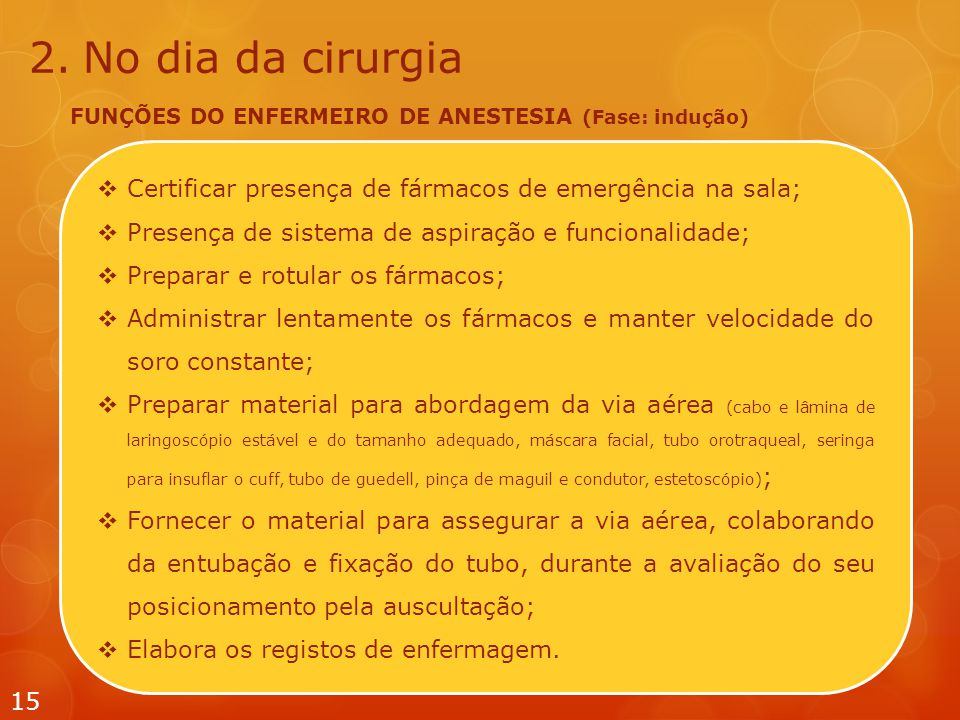 No dia da cirurgia FUNÇÕES DO ENFERMEIRO DE ANESTESIA (Fase: indução) Certificar presença de fármacos de emergência na sala;