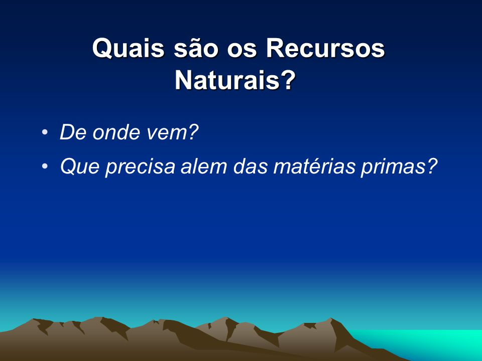 Quais são os Recursos Naturais