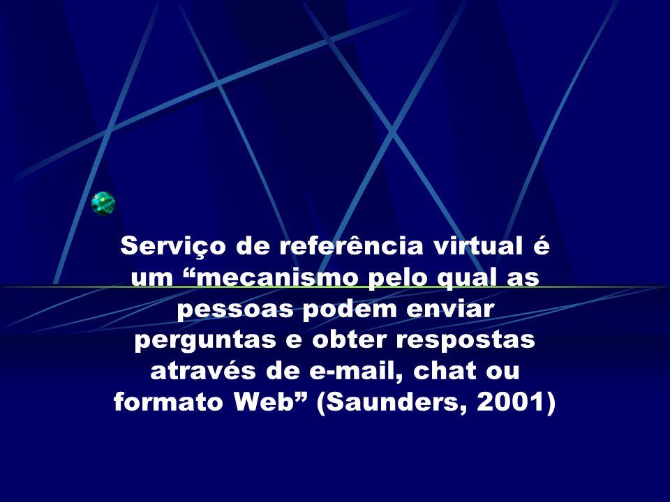 Serviço de referência virtual é um mecanismo pelo qual as pessoas podem enviar perguntas e obter respostas através de e-mail, chat ou formato Web (Saunders, 2001)
