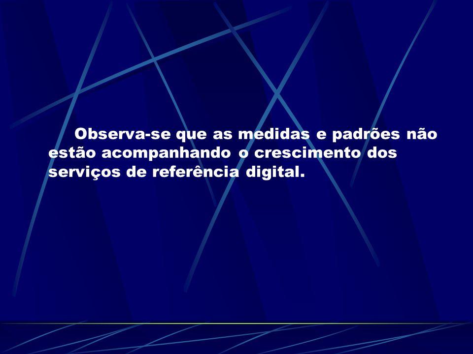 Observa-se que as medidas e padrões não estão acompanhando o crescimento dos serviços de referência digital.