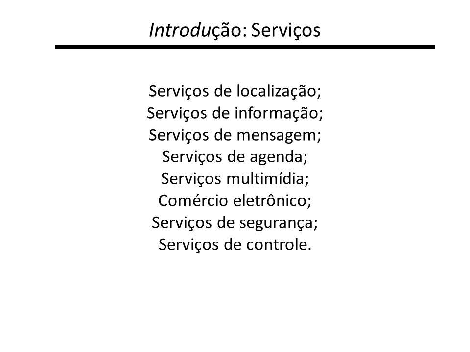 Introdução: Serviços Serviços de localização; Serviços de informação;