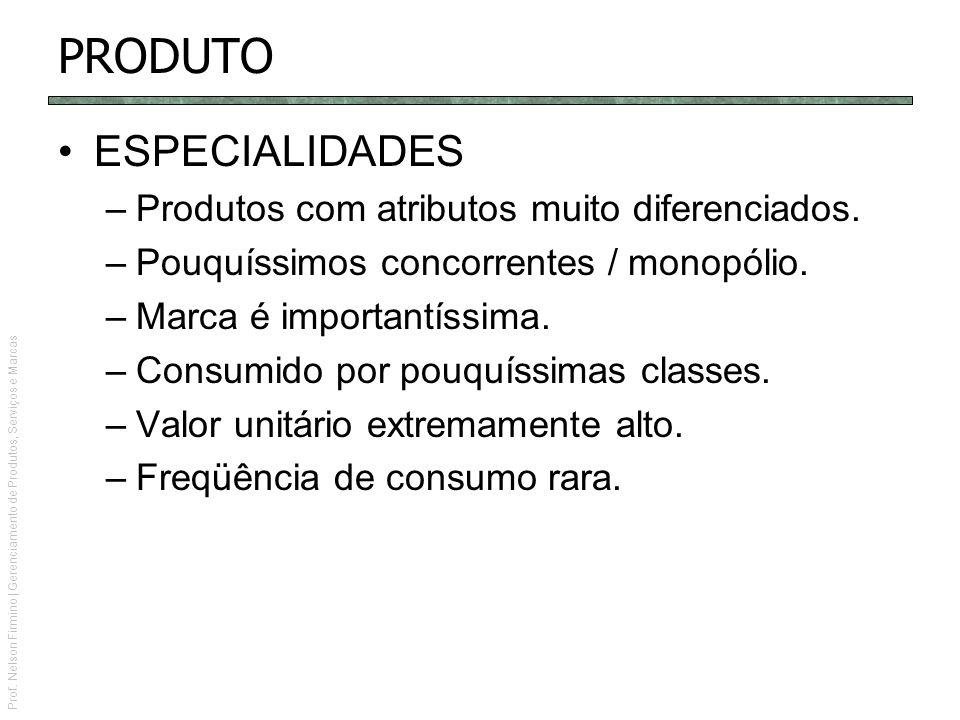 PRODUTO ESPECIALIDADES Produtos com atributos muito diferenciados.