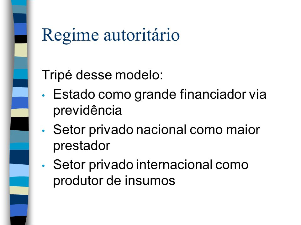 Regime autoritário Tripé desse modelo: