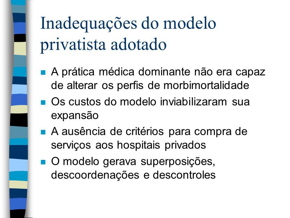 Inadequações do modelo privatista adotado