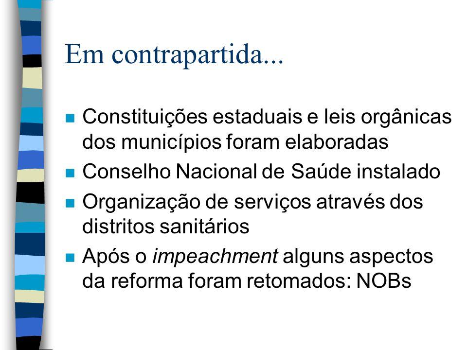Em contrapartida... Constituições estaduais e leis orgânicas dos municípios foram elaboradas. Conselho Nacional de Saúde instalado.