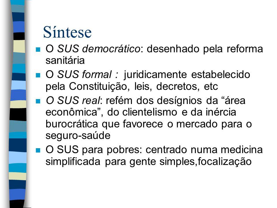 Síntese O SUS democrático: desenhado pela reforma sanitária