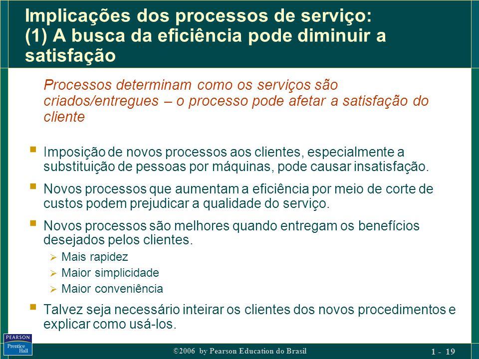 Implicações dos processos de serviço: (1) A busca da eficiência pode diminuir a satisfação