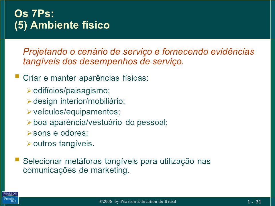 Os 7Ps: (5) Ambiente físico