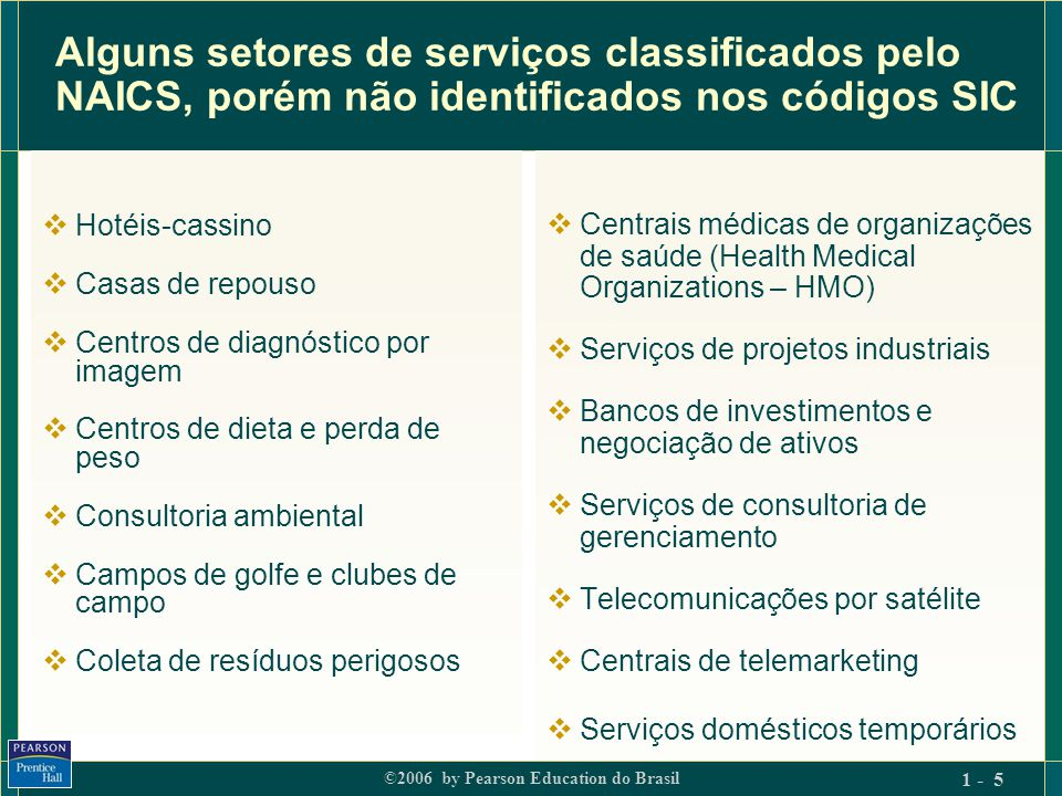 Alguns setores de serviços classificados pelo NAICS, porém não identificados nos códigos SIC