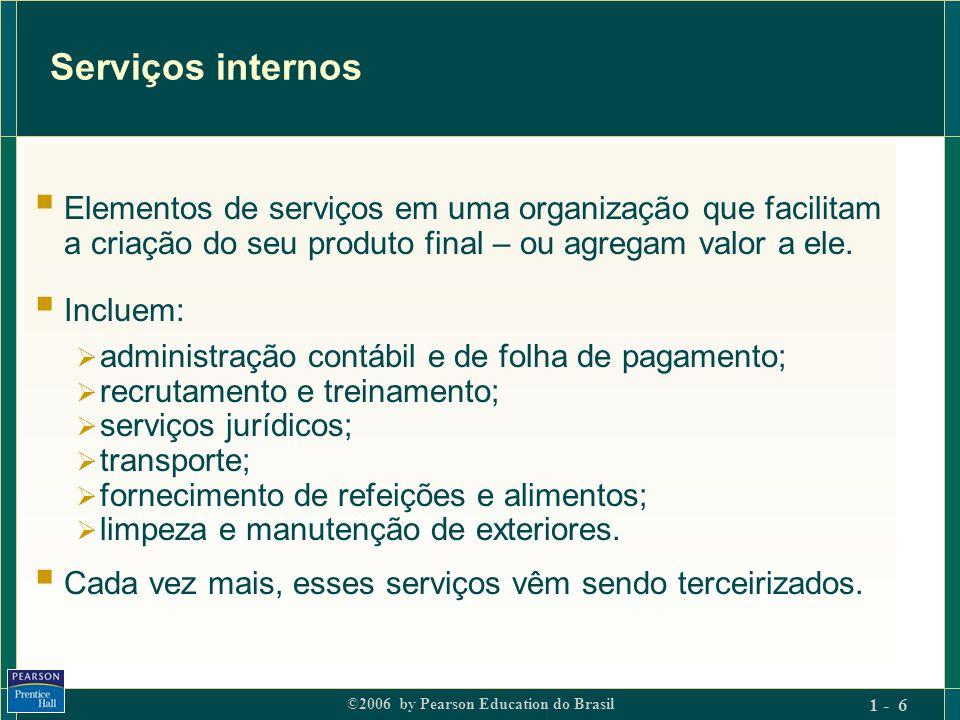 Serviços internos Elementos de serviços em uma organização que facilitam a criação do seu produto final – ou agregam valor a ele.