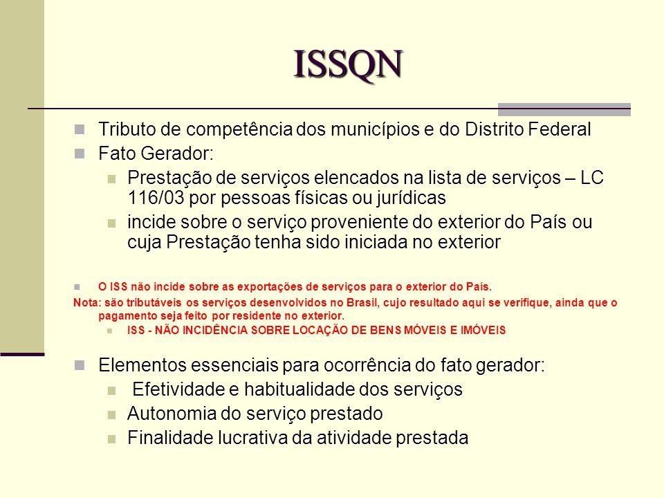 ISSQN Tributo de competência dos municípios e do Distrito Federal