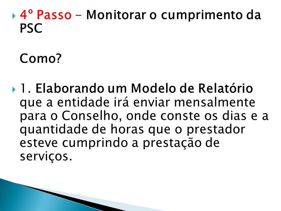 4º Passo - Monitorar o cumprimento da PSC