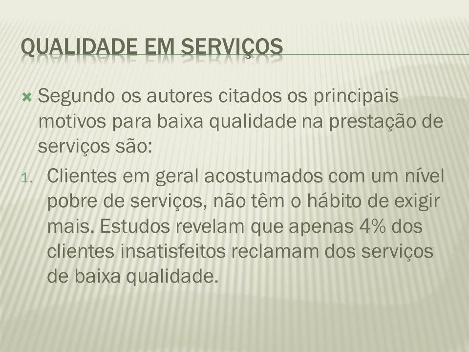 Qualidade em Serviços Segundo os autores citados os principais motivos para baixa qualidade na prestação de serviços são: