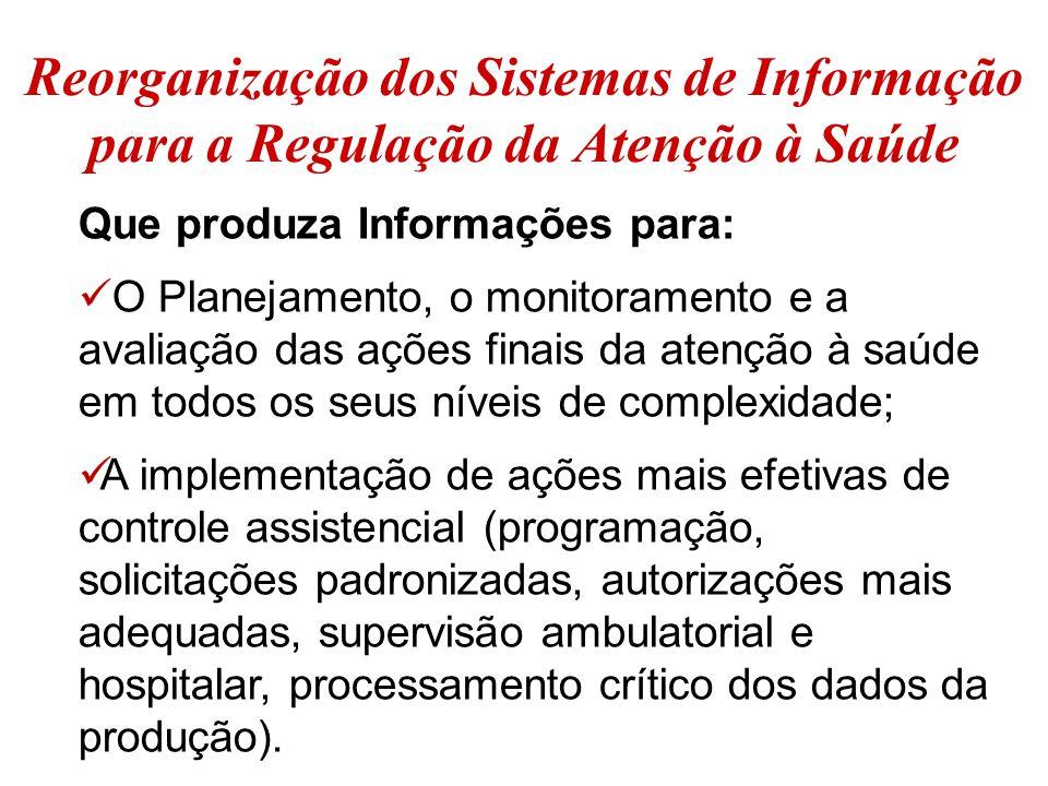 Reorganização dos Sistemas de Informação para a Regulação da Atenção à Saúde
