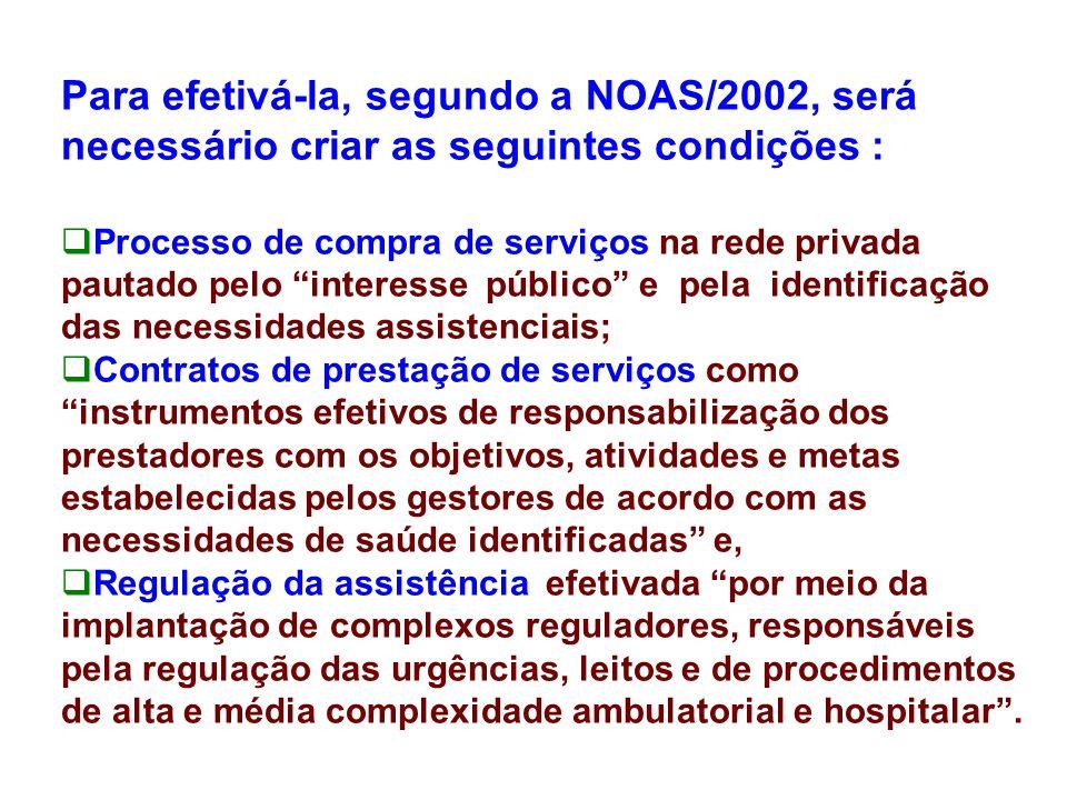 Para efetivá-la, segundo a NOAS/2002, será necessário criar as seguintes condições :