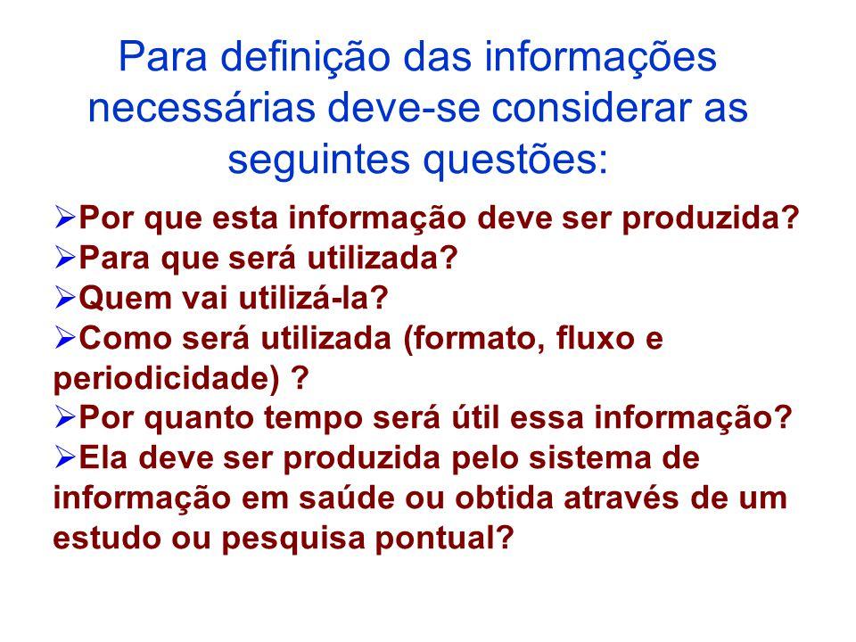 Para definição das informações necessárias deve-se considerar as seguintes questões: