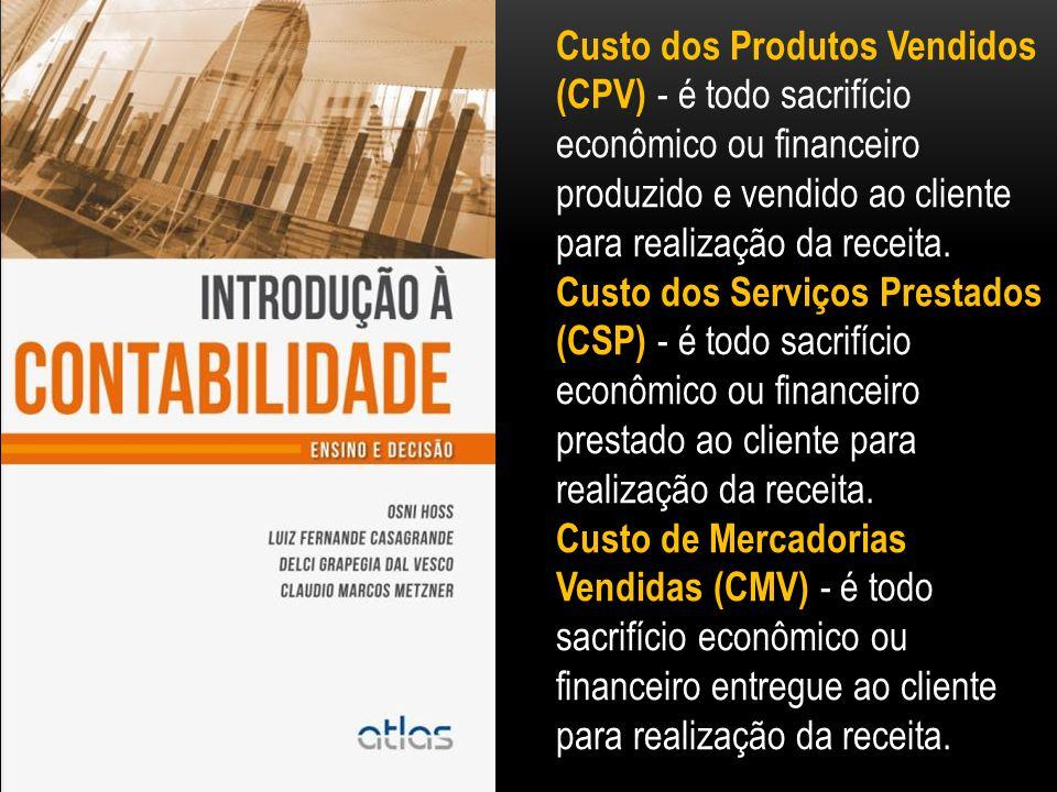 Custo dos Produtos Vendidos (CPV) - é todo sacrifício econômico ou financeiro produzido e vendido ao cliente para realização da receita.