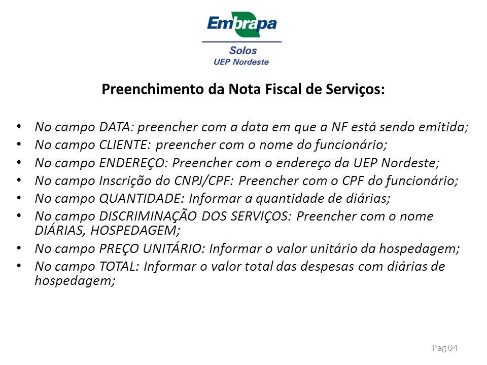 Preenchimento da Nota Fiscal de Serviços: