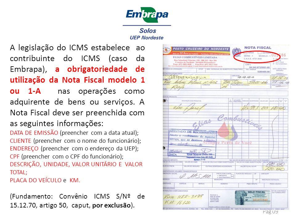 A legislação do ICMS estabelece ao contribuinte do ICMS (caso da Embrapa), a obrigatoriedade de utilização da Nota Fiscal modelo 1 ou 1-A nas operações como adquirente de bens ou serviços. A Nota Fiscal deve ser preenchida com as seguintes informações: