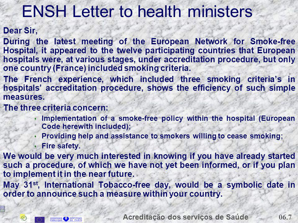 ENSH Letter to health ministers