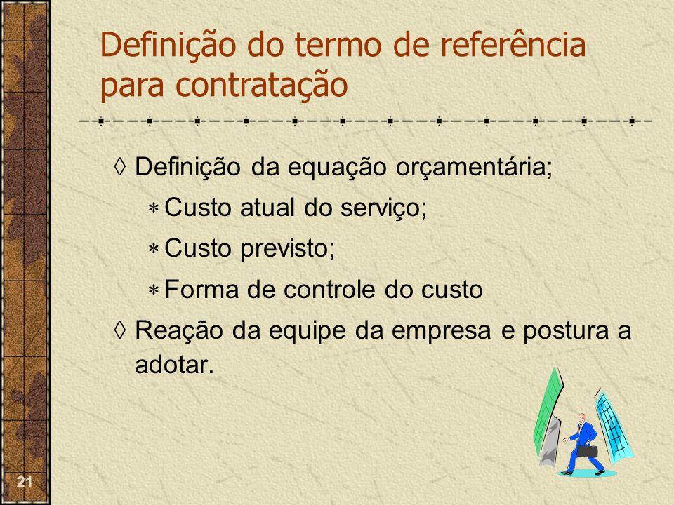 Definição do termo de referência para contratação