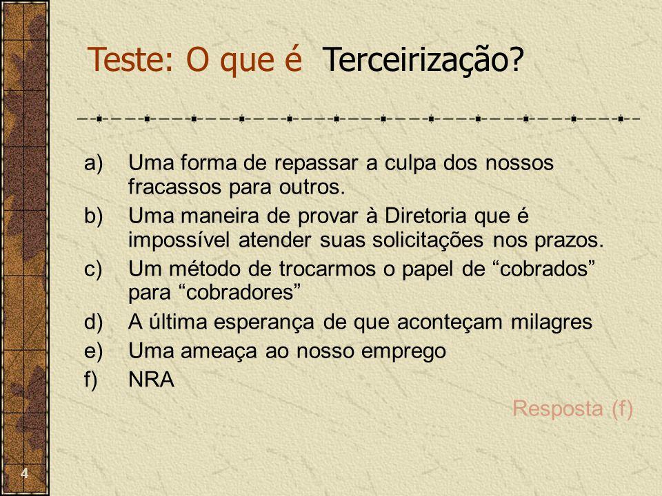 Teste: O que é Terceirização