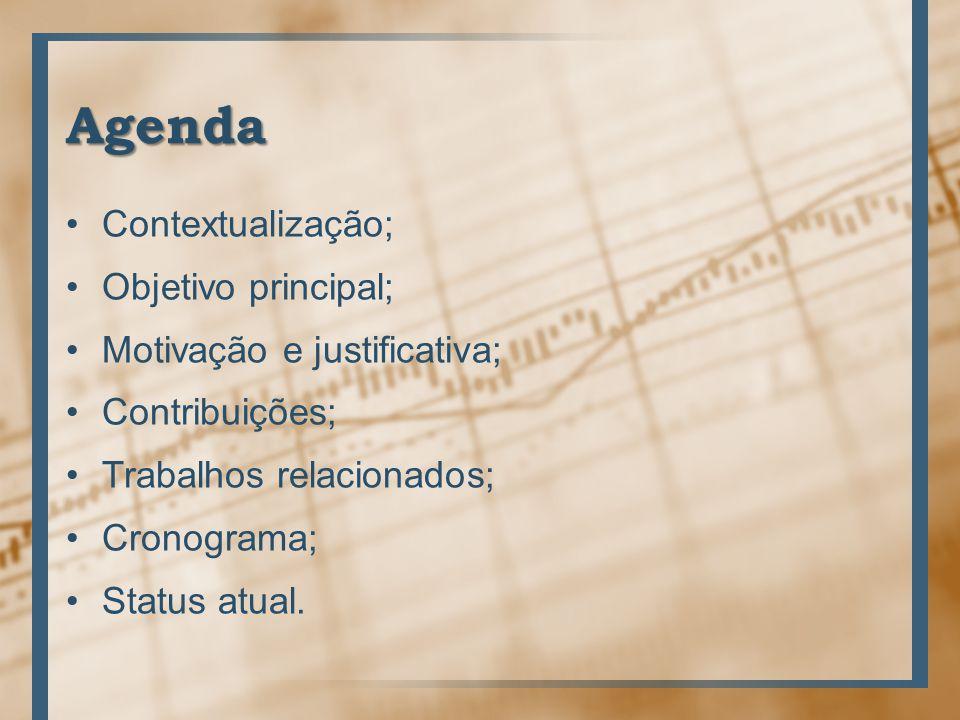 Agenda Contextualização; Objetivo principal;