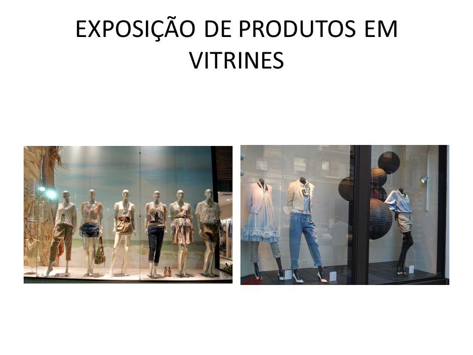 EXPOSIÇÃO DE PRODUTOS EM VITRINES