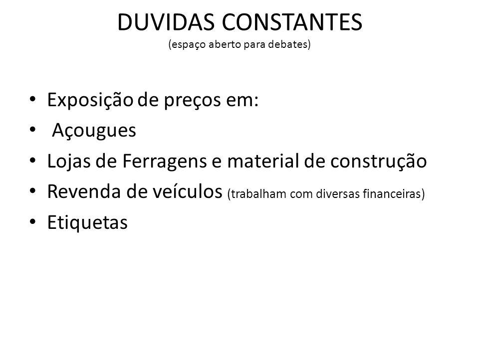 DUVIDAS CONSTANTES (espaço aberto para debates)
