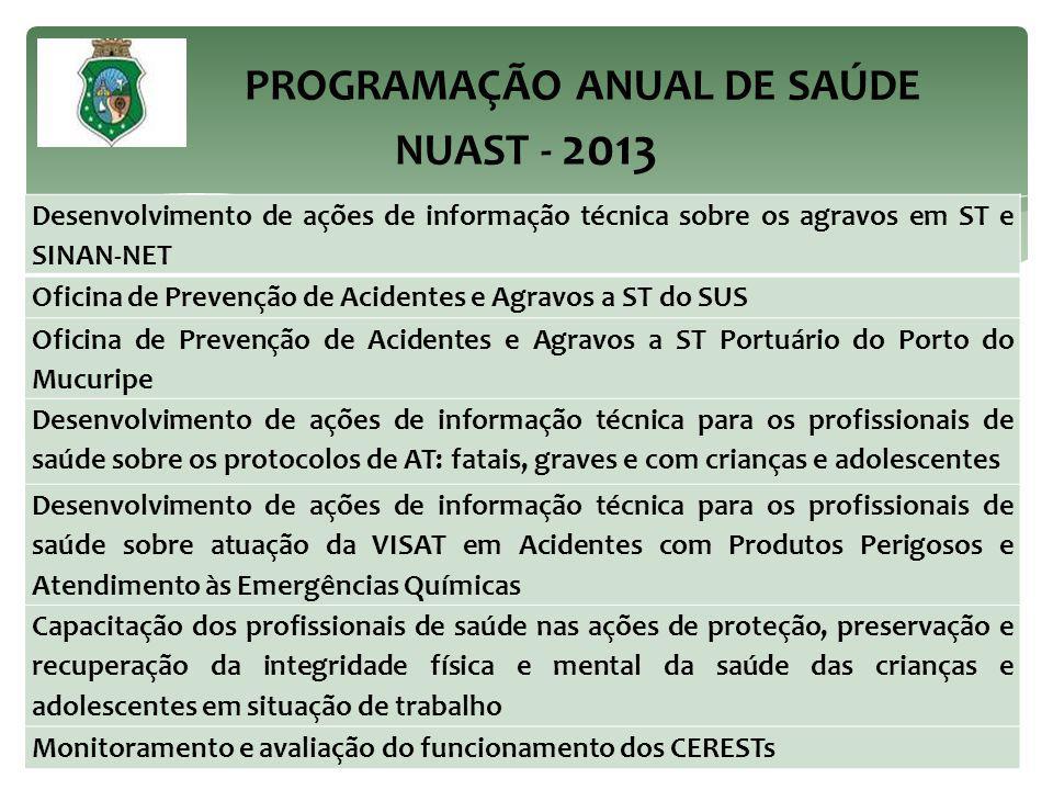 PROGRAMAÇÃO ANUAL DE SAÚDE NUAST - 2013