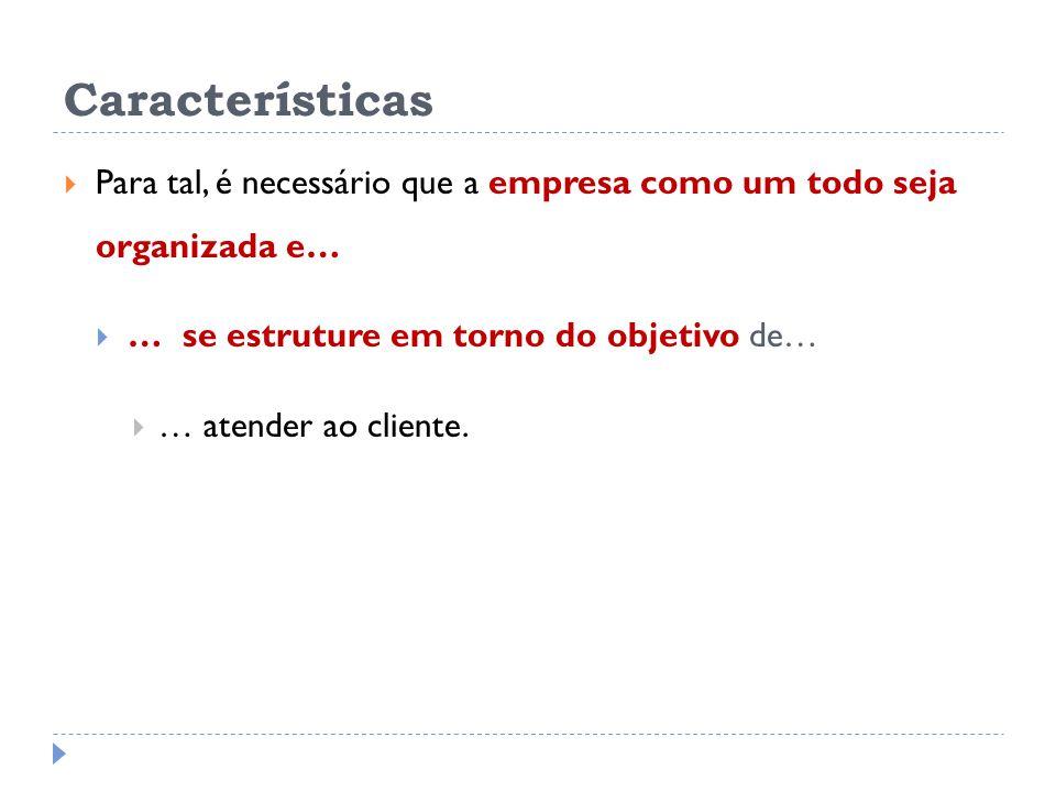 Características Para tal, é necessário que a empresa como um todo seja organizada e… … se estruture em torno do objetivo de…