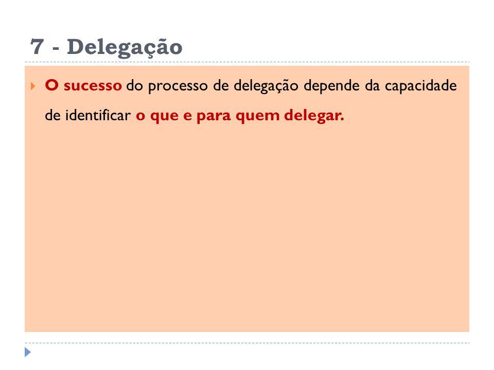 7 - Delegação O sucesso do processo de delegação depende da capacidade de identificar o que e para quem delegar.