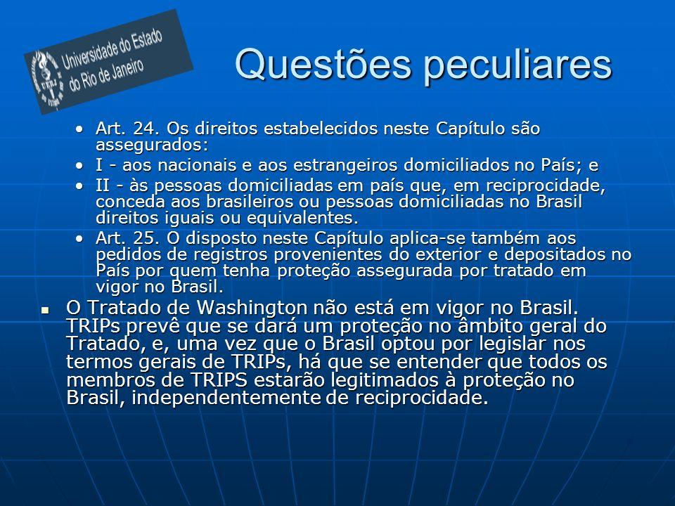 Questões peculiaresArt. 24. Os direitos estabelecidos neste Capítulo são assegurados: I - aos nacionais e aos estrangeiros domiciliados no País; e.