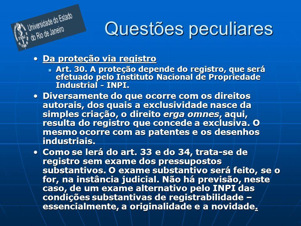Questões peculiares Da proteção via registro