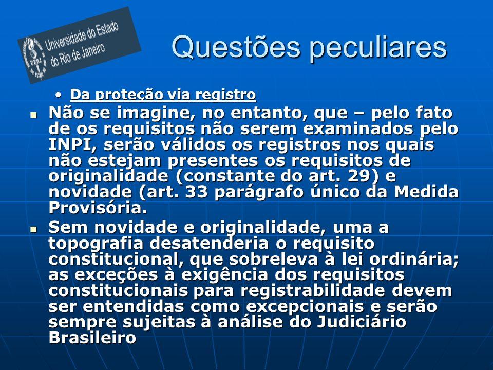 Questões peculiaresDa proteção via registro.