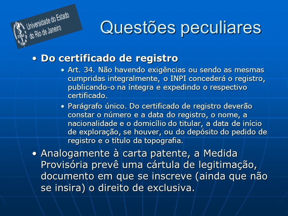 Questões peculiares Do certificado de registro