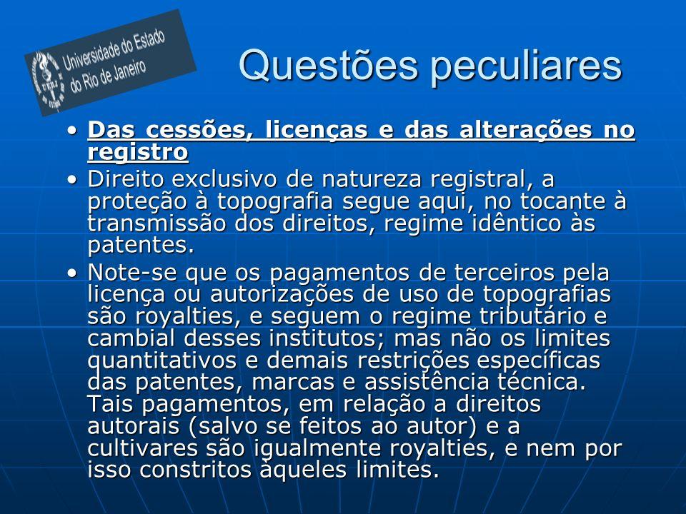 Questões peculiares Das cessões, licenças e das alterações no registro