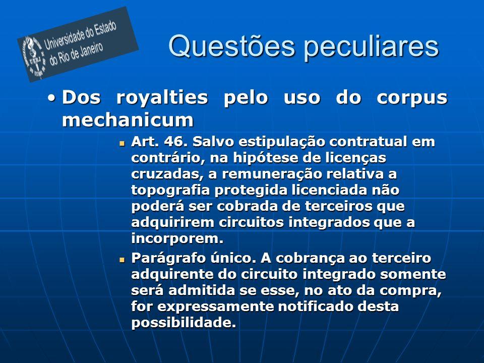 Questões peculiares Dos royalties pelo uso do corpus mechanicum