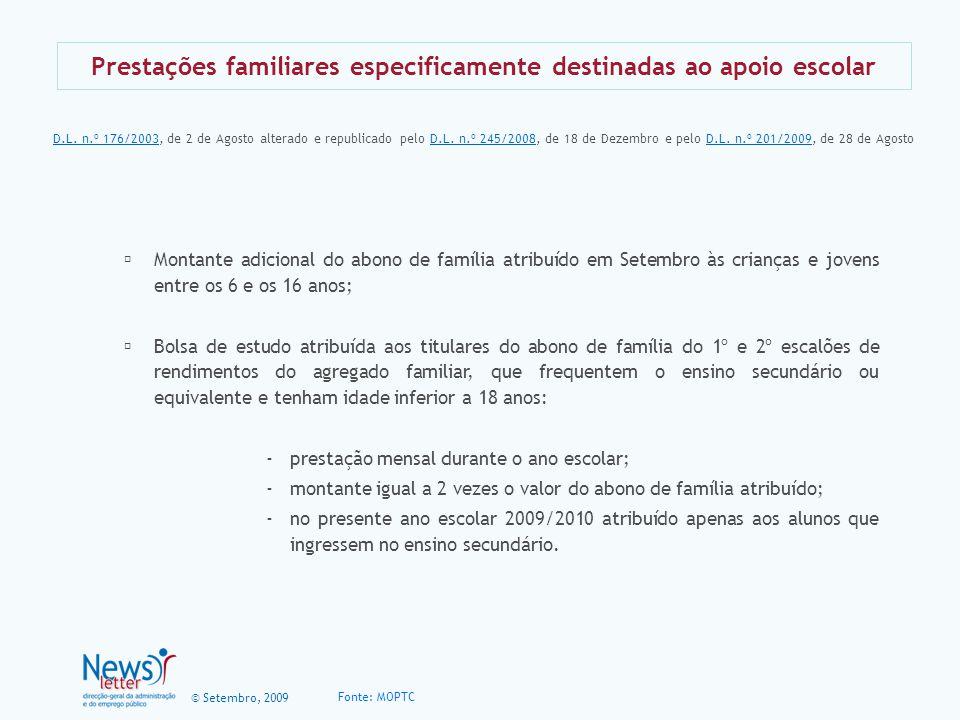 Prestações familiares especificamente destinadas ao apoio escolar