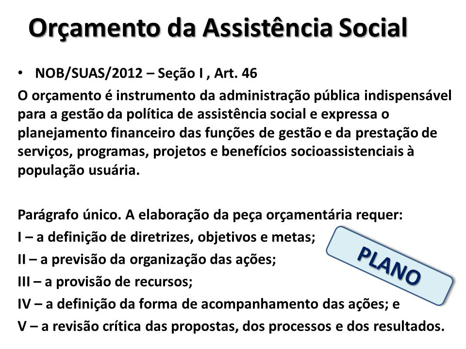 Orçamento da Assistência Social