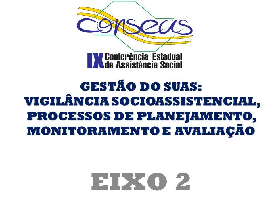GESTÃO DO SUAS: VIGILÂNCIA SOCIOASSISTENCIAL, PROCESSOS DE PLANEJAMENTO, MONITORAMENTO E AVALIAÇÃO.