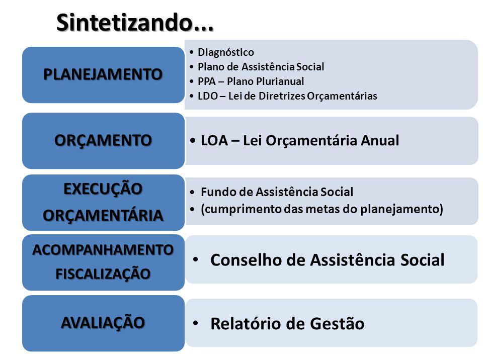 Sintetizando... Conselho de Assistência Social Relatório de Gestão