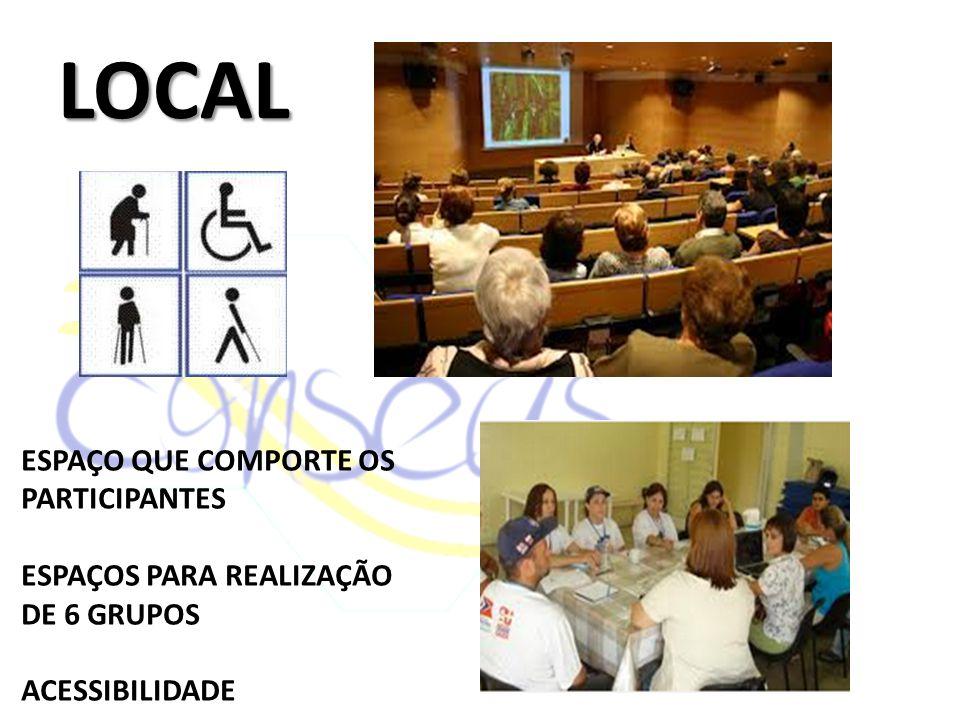 LOCAL ESPAÇO QUE COMPORTE OS PARTICIPANTES