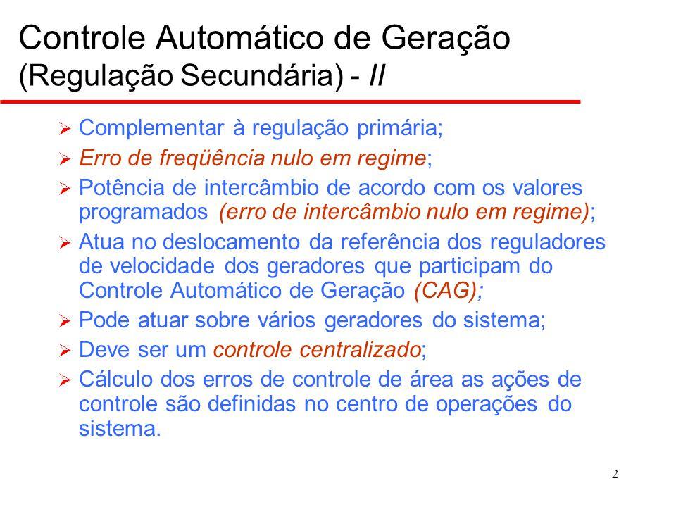 Controle Automático de Geração para Área Isolada: ECA e ação de controle