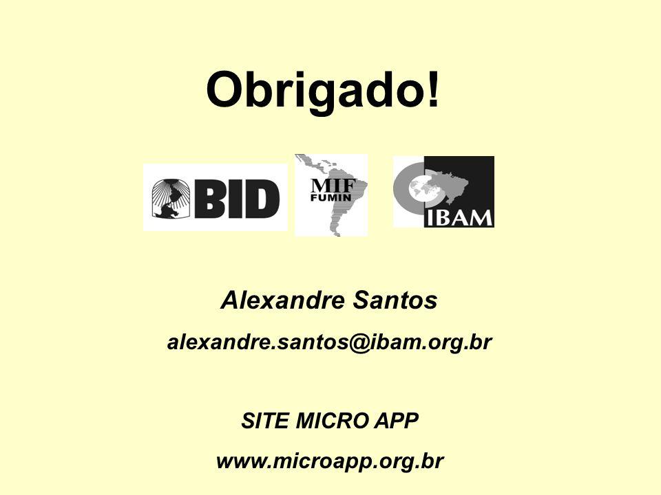 Obrigado! Alexandre Santos alexandre.santos@ibam.org.br SITE MICRO APP