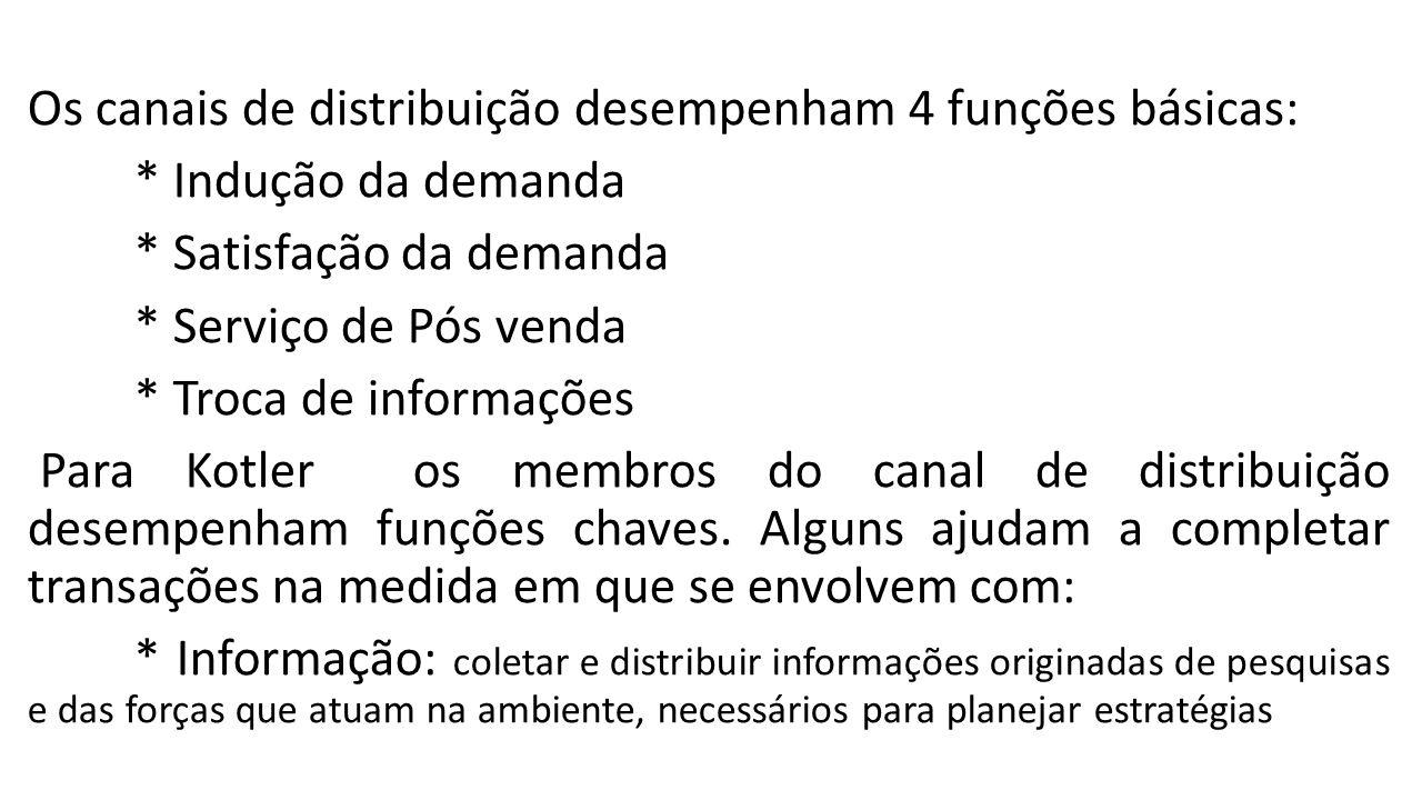 Os canais de distribuição desempenham 4 funções básicas:
