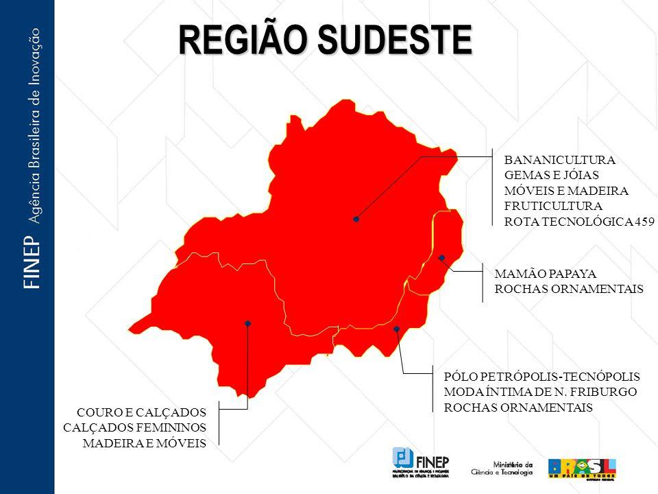 REGIÃO SUDESTE BANANICULTURA GEMAS E JÓIAS MÓVEIS E MADEIRA
