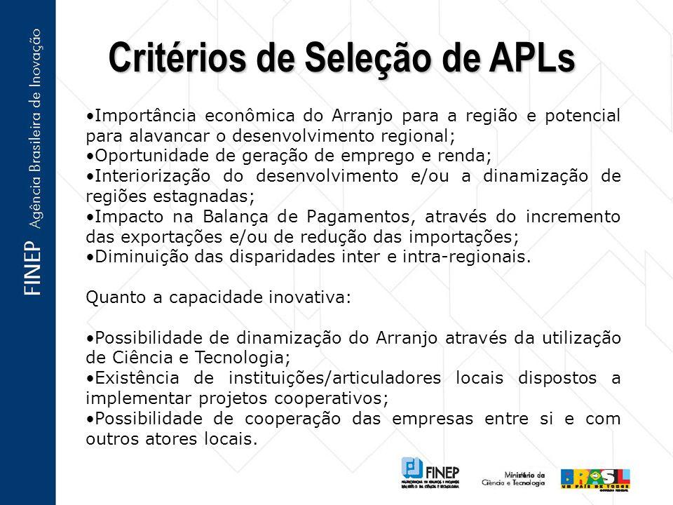Critérios de Seleção de APLs