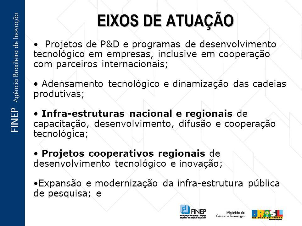 EIXOS DE ATUAÇÃO Projetos de P&D e programas de desenvolvimento tecnológico em empresas, inclusive em cooperação com parceiros internacionais;