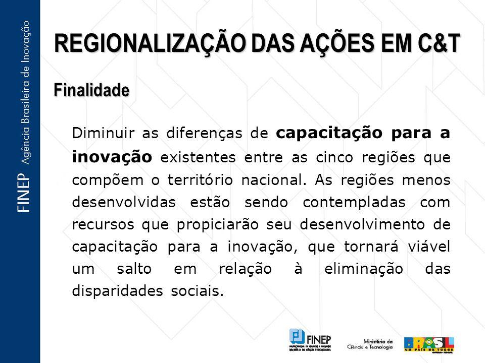 REGIONALIZAÇÃO DAS AÇÕES EM C&T